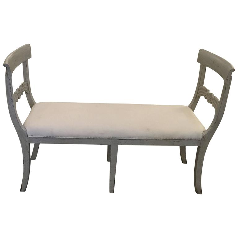 Antique Swedish Gustavian Window Seat Bench with Sides, Mid-19th Century