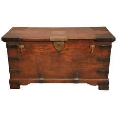 Handsome Anglo Indian Teak and Iran Bound Trunk