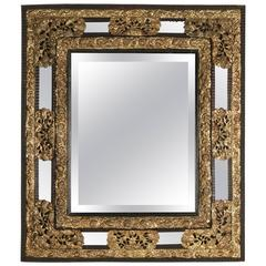 Parclose Mirror from the 19th Century in Gold Gilt Brass and Ebonized Wood