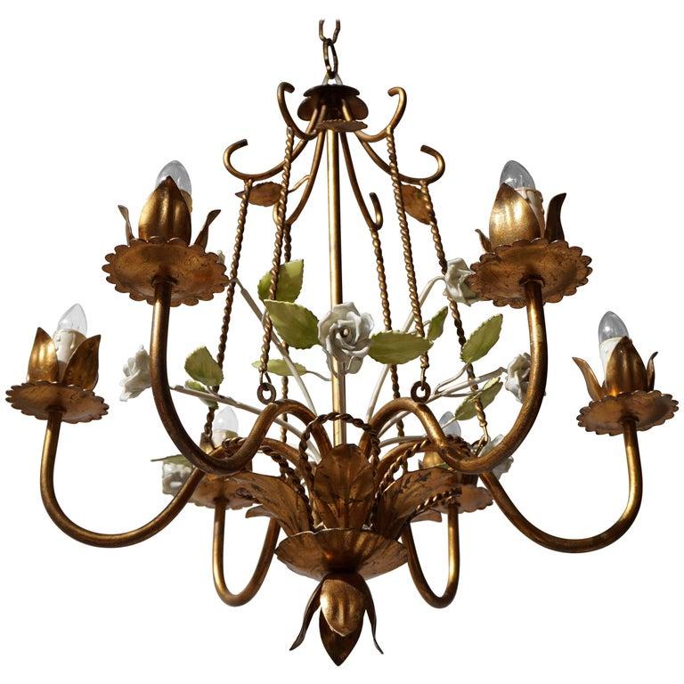 Italian Brass Chandelier with Porcelain Flowers For Sale