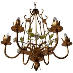 Italian Brass  and Porcelain Flower Chandelier