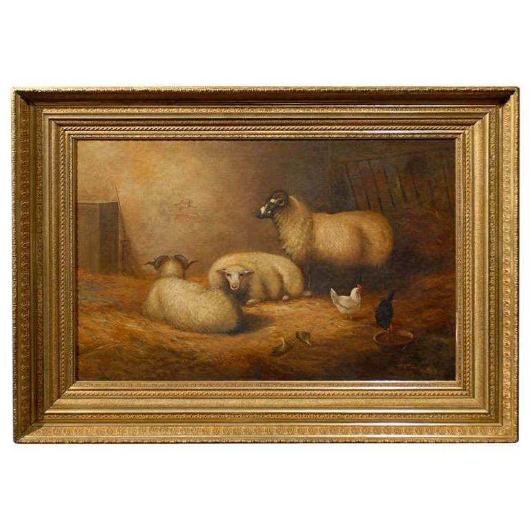 Large English 1880s Painting Depicting Sheep And Chickens In A Barn