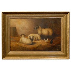 Large English 1880s Painting Depicting Sheep and Chickens in a Barn by W. Topham