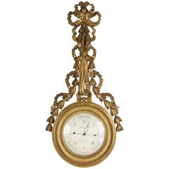 19th Century Barometer of Hand-Carved Gold Giltwood