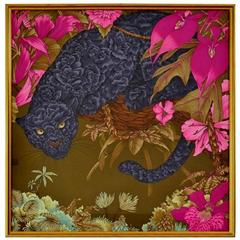 """Framed Silk """"Panther and Wild Pink Orchids and Flowers"""" Scarf, Hermès Style"""