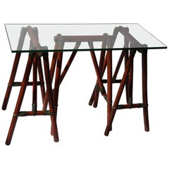 Side Table with Three Wooden Trestles