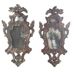 Pair of 19th Century Italian Silver Leaf Mirrors