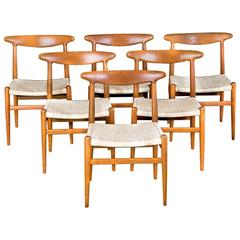 Hans J. Wegner Set of Six Dining Chairs Oak and Woven Cane