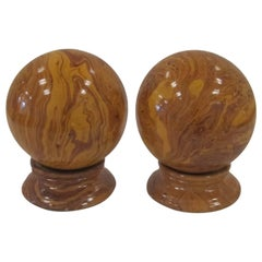Italian Yellow Pottery Marbleized Decorative Spheres on Pedestal Bases