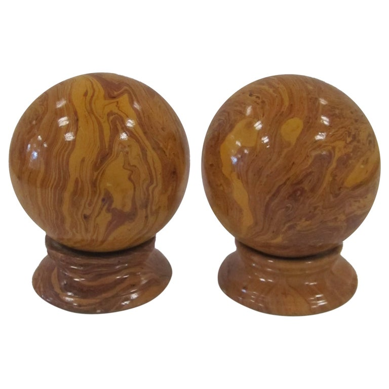 Italian Yellow Pottery Marbleized Decorative Spheres on Pedestal Bases For Sale