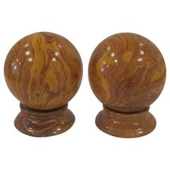 Yellow Pottery Faux Marble Decorative Spheres on Pedestal Bases