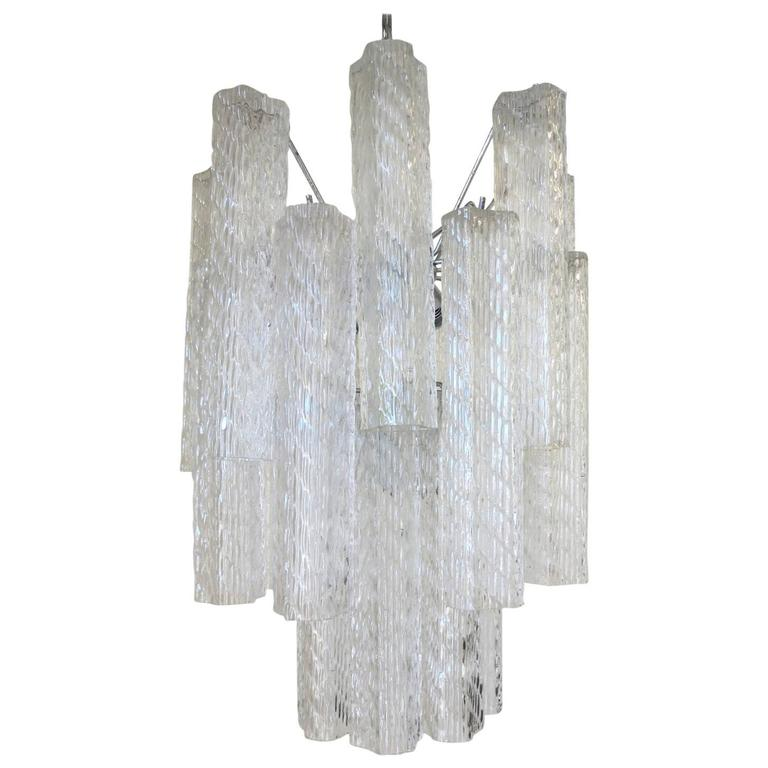 Murano Textured Tubes Chandelier by Venini