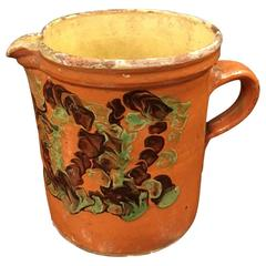 19th Century French Pottery Pitcher