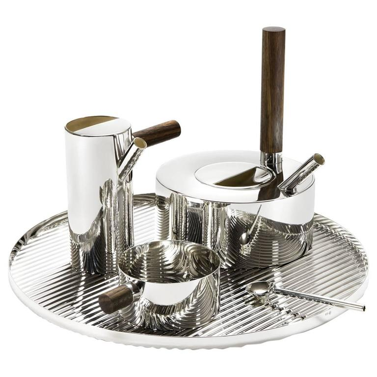 Tomás Alonso Modern Sterling Silver and Zebrano Wood Tea Service