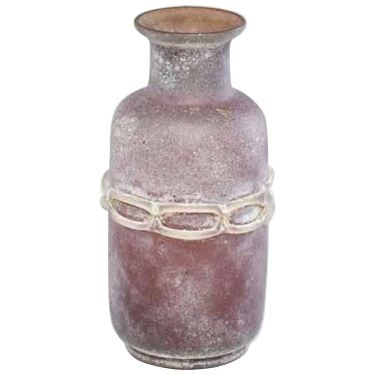 Seguso Scavo Murano Glass Vase For Sale