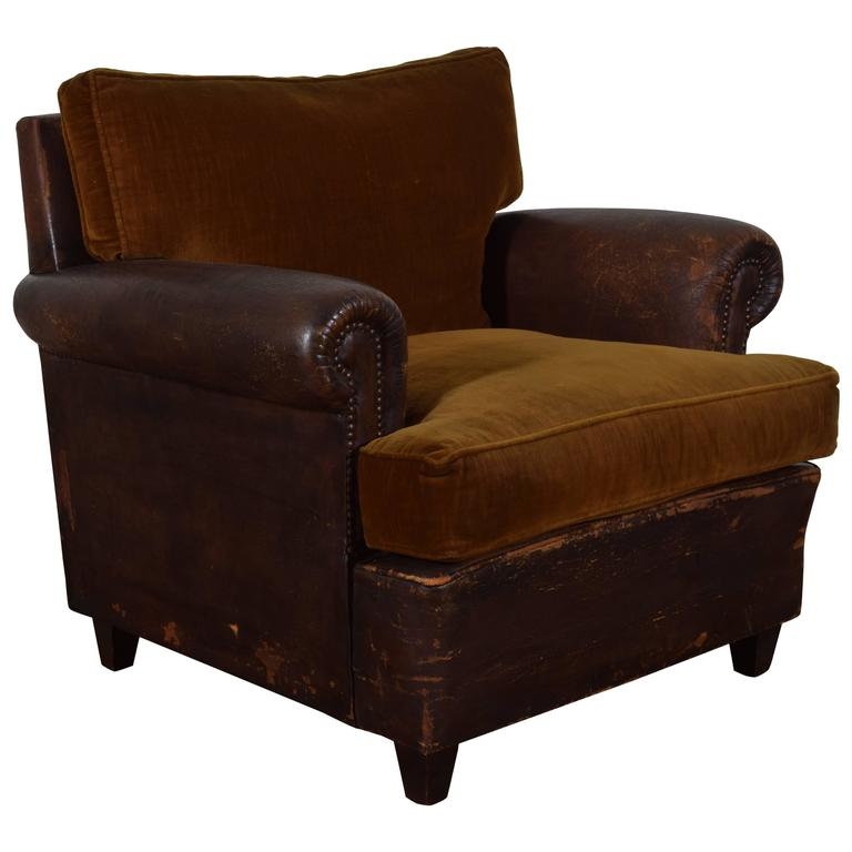 French leather upholstered and velvet club chair for sale for Small club chairs upholstered