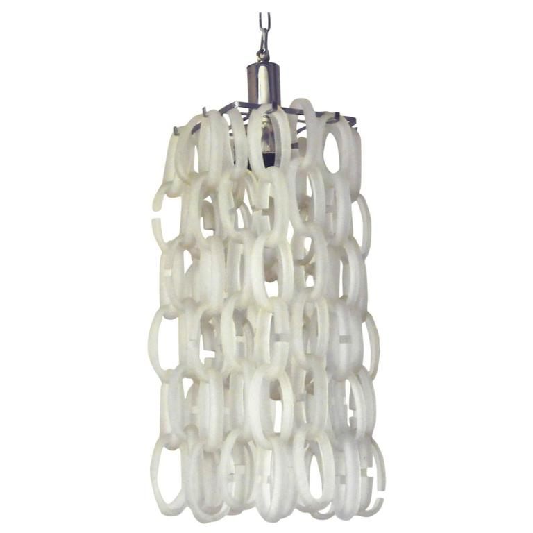 Italian Frosted Murano Glass Links Chandelier by Vistosi