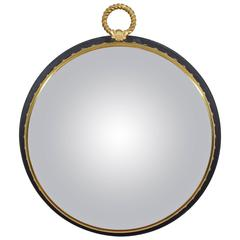 French Neoclassical Style Ebonized Wood and Brass Decorative Convex Mirror