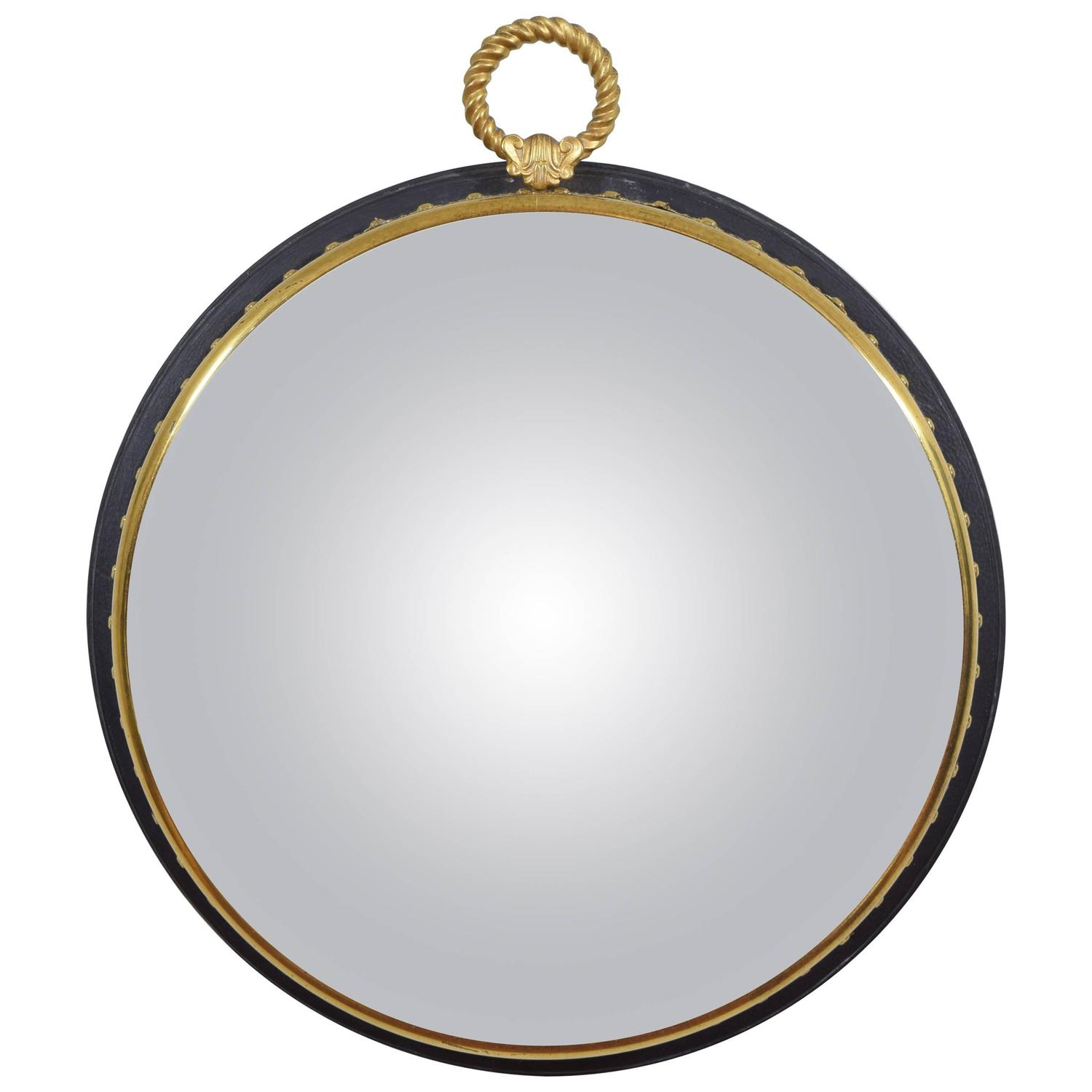... Neoclassical Style Ebonized Wood and Brass Decorative Convex Mirror