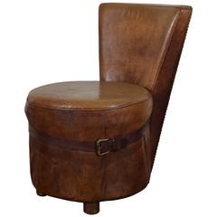 French Art Deco Leather Upholstered Vanity or Slipper Chair