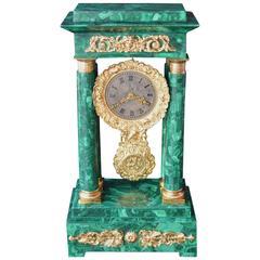 Empire Style Malachite Clock with Doré Bronze