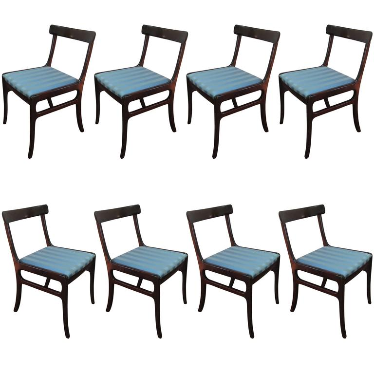 Set of Eight Rungstedlund Mahogany Dining Chairs by Ole Wanscher