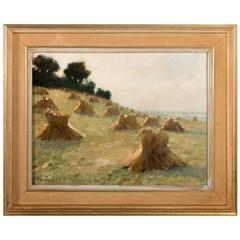 Signed Swedish Oil on Canvas Painting of Haystacks, Dated 1925