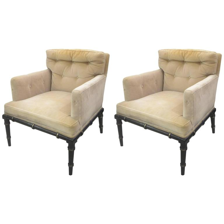 Pair of Vintage Upholstered and Ebonized Faux-Bamboo Armchairs