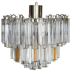 Mid-Century Modern Camer Glass Chandelier with Clear and Amber Venini Prisms