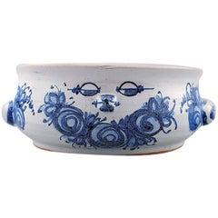 Bjorn Wiinblad Unique Ceramic Flower Pot, Blue Glaze, 1972