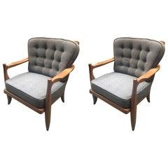 """Guillerme et Chambron, two Oak Armchairs """"José"""", Edition Votre Maison"""