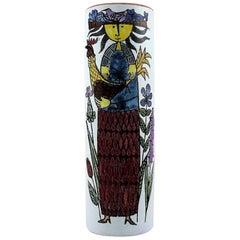 Vase Decorated with a Women, Stig Lindberg, Gustavsberg Studio Faience, 1940s