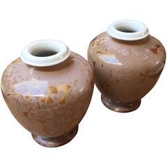 Pair of Furstenberg Solitaire Vases in Pink Velvet