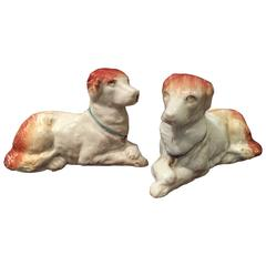 Antique Rare Pair of Recumbent Staffordshire Dogs