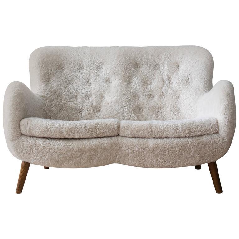 Danish 1940s Sofa In Sheepskin
