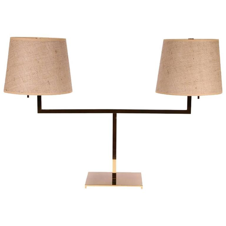Mid Century Robsjohn Gibbings For Hansen Double Table Lamp At 1stdibs