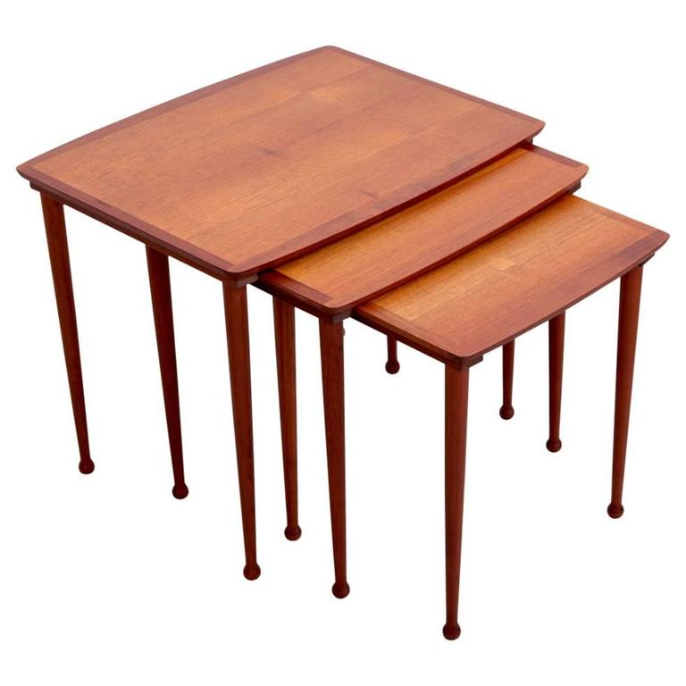 Teak Nesting Tables ~ Danish nest of three teak nesting or stacking tables by