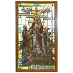 Large Religious Stained Glass Window, Jesus-let the Little Children Come Unto Me