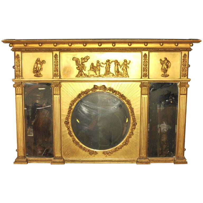 Antique regency 1815 gilt mantle mirror english mirrors for Mantel mirrors