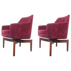 Pair of Vintage Jens Risom Walnut Swivel Lounge Chairs