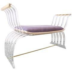 Curved Lucite Settee Bench in the Style of Charles Hollis Jones