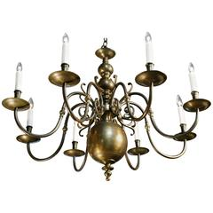 Large Dutch Baroque Bronze Eight-Arm Chandelier from Belgium circa 1910