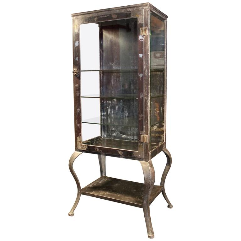 Antique Metal And Gl Doctor S Medical Cabinet For