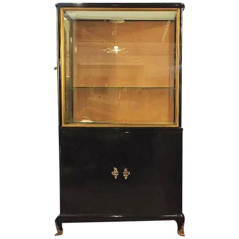 Ebonized Louis XV Style China Cabinet Vitrine Bookcase Style of Maison Jansen For Sale