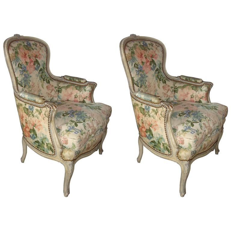 Pair of Louis XV Style Distressed Paint Decorated Chairs by Jansen