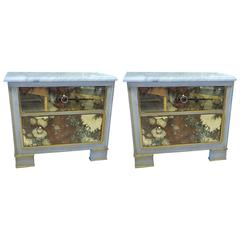 Pair of Marble-Top Mirror Front Painted Nightstands or End Tables