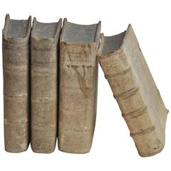 17th Century Collection of Four Rare European Vellum Books with Buckles