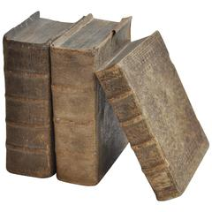 Late 17th Century Collection of 3 Rare European Vellum Books With Pewter Buckles