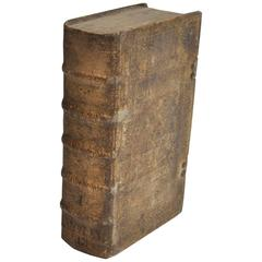 18th Century European Vellum Book with Beautiful Pewter Buckles