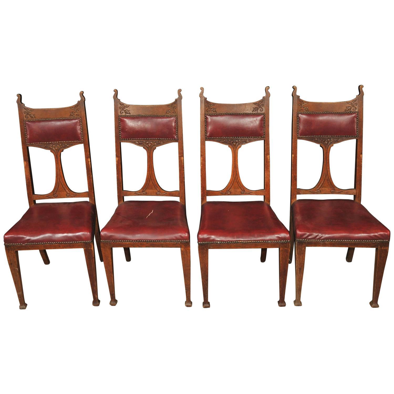 Set Four Antique Art Nouveau Dining Chairs 1890 Arts And